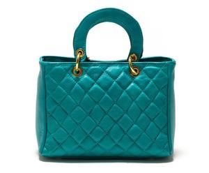 Bolso acolchado de piel – verde azulado