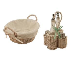 Set para aliñar con canasta y 1 cesta de pan country