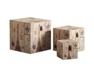 Juego de 3 baúles de madera Paris Vintage