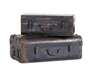 Juego de dos maletas deco de metal