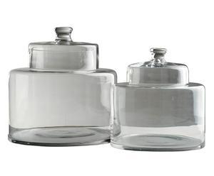 Set de 2 frascos de vidrio con tapa – transparente