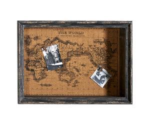 Corcho con marco de madera y chinchetas – marrón y gris