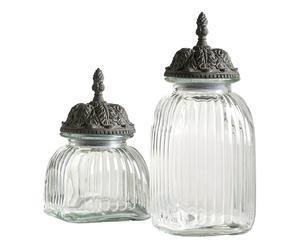 Set de 2 frascos de vidrio con tapas de metal
