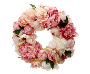Corona de peonías artificiales - rosadas