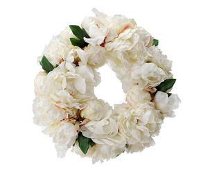 Corona de peonías artificiales - blancas