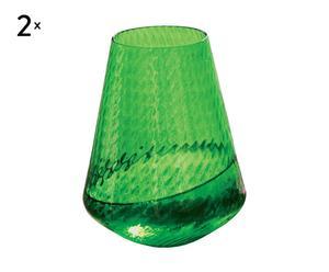 Set de 2 vasos de cristal de Murano Arundo - verde