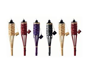 Set de 6 antorchas de bambú y metal- multicolor
