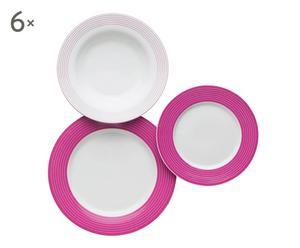 Vajilla de cerámica Circle, fucsia – 18 piezas