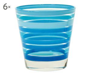 Set de 6 vasos de vidrio Chic&Choc – azul