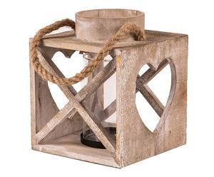 Portavelas de madera, vidrio y cuerda - madera envejecida