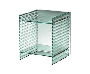 Mesita de noche con laterales en vidrio fundido Ondacorta