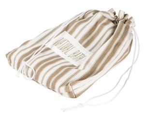 Toalla de ducha XL algodón con bolsa a juego – blanco y beige