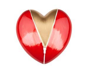 Corazón decorativo de vidrio – rojo y dorado