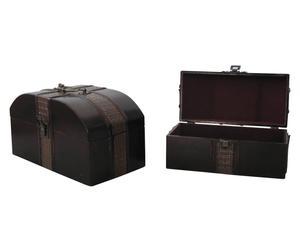 Set de 2 baúles multiusos en madera Ethnic - marrón