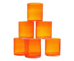 Set de 6 vasos de vidrio - naranjas