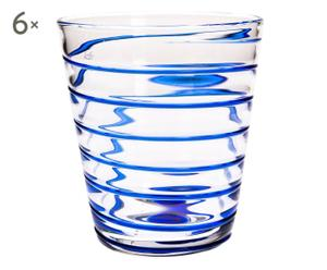 Set de 6 vasos de vino Maia – azul y transparente