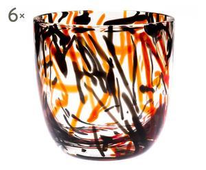 Set de 6 vasos Bastoncinni – rojo y negro