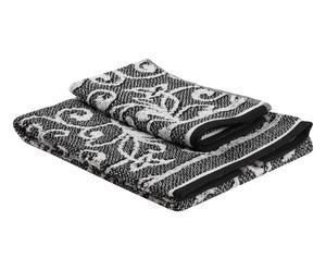 Set de toalla de aseo y toalla de lavabo Nancy - negro