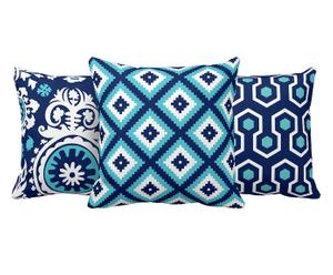 Set de 3 cojines de microfibra Batik – blanco, turquesa y azul