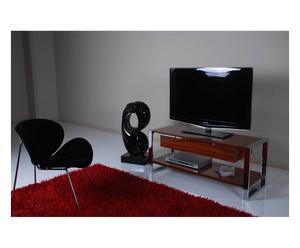 Mueble de televisión de MDF y acero – cromo y nogal