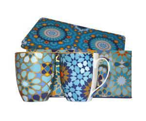 Set de 2 tazas de porcelana en 1 caja metálica Moucharabieh
