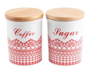 Set de 2 tarros en porcelana con tapa Coffee and Sugar