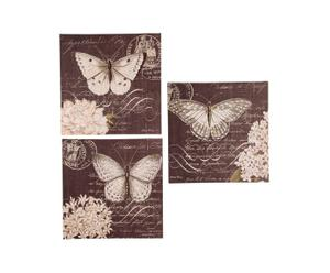 Set de 3 lienzos con mariposas