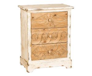 Cómoda de madera con 3 cajones RAMATUELLE - blanco y natural