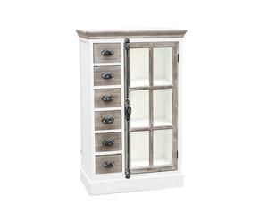 Aparador de 6 cajones y una puerta en madera de abedul - blanco
