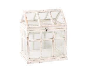 Invernadero de madera y vidrio - blanco