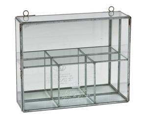 Estantería de pared de cristal – transparente y plata