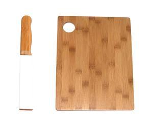 Set de 1 afilador de cuchillos y 1 tabla de cortar en bambú