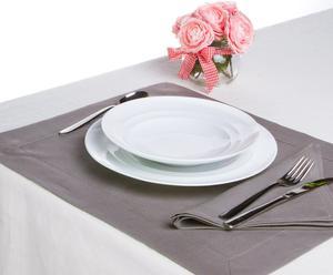 Set de mantel y servilleta individual de lino - gris