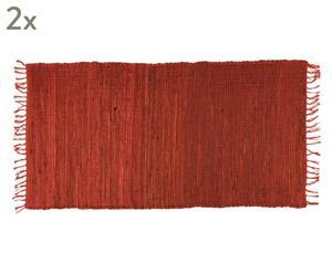 Set de 2 alfombras de yute y algodón Basic, rojo - 60x90