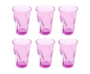 Juego de 6 vasos de cristal, rosa - pequeño