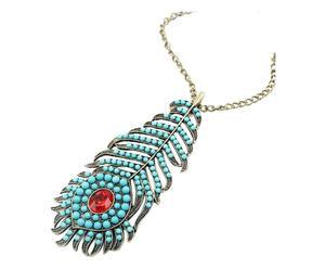 Collar Feather - turquesa