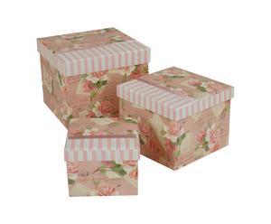 Set de 3 cajas de cartón Rosa