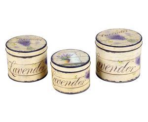 Set de 3 cajas de hojalata LAVANDA