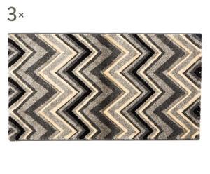 Set de 2 alfombrillas y 1 alfombra Zigzag, gris –60x110 y 80x150