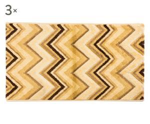 Set de 2 alfombrillas y 1 alfombra Zigzag, beige –60x110 y 80x150