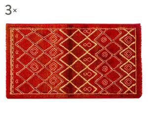 Set de 2 alfombrillas y 1 alfombra Flora, rojo –60x110 y 80x150