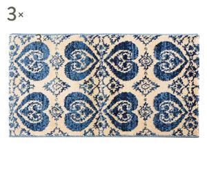 Set de 2 alfombrillas y 1 alfombra central Batik, azul y marfil – 60x110 y 80x150