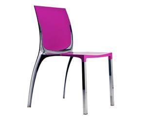 silla de aluminio y policarbonato LIANA - fucsia