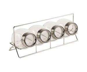 Set de 4 botes para especias en acero y vidrio