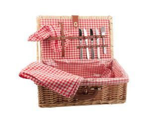 Cesta de picnic con servilletas y cubiertos