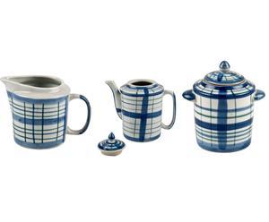 Set de tetera, azucarera y jarrita para té – blanco y azul