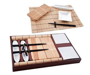 Set de sushi de madera y cerámica JAPAN, blanco - 13 piezas