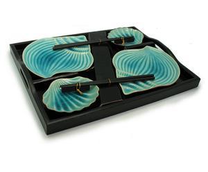 Set de sushi de madera y cerámica Japan, azul - 9 piezas