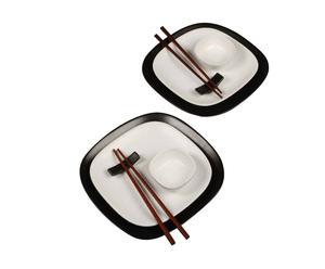 Set de mesa de cerámica Japan, negro y blanco - 8 piezas