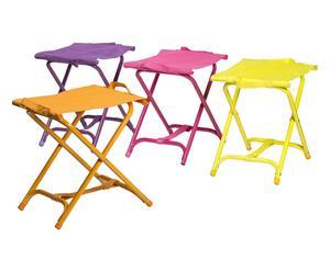 Set de 4 taburetes plegables en poliéster y metal Surf – violeta, naranja, amarillo y fucsia